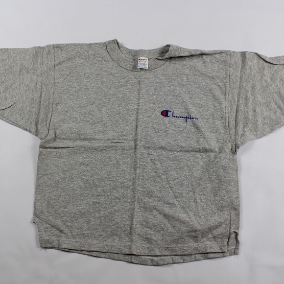 Vintage 90s New Champion Mens XL Spell Out Jersey Knit Tee Shirt Heather Gray